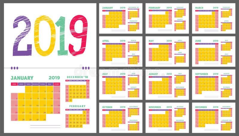 ημερολογιακός αρμόδιος για το σχεδιασμό του 2019 Το πορφυρό, κίτρινο, πράσινο και κόκκινο χρώμα απεικόνιση αποθεμάτων