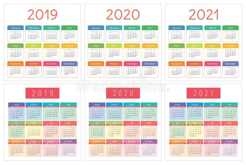 ημερολογιακός προγραμματισμός του 2019 Αγγλικός αρμόδιος για το σχεδιασμό Διανυσματικό πρότυπο olor Ð ¡ ελεύθερη απεικόνιση δικαιώματος