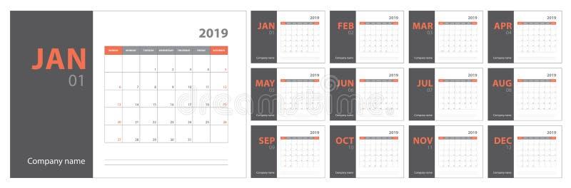 ημερολογιακός προγραμματισμός του 2019 Αγγλικός αρμόδιος για το σχεδιασμό Διανυσματικό πρότυπο olor Ð ¡ απεικόνιση αποθεμάτων