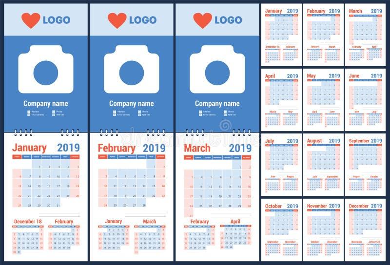 ημερολογιακός προγραμματισμός του 2019 planner Μπλε πρότυπο χρώματος sunday απεικόνιση αποθεμάτων