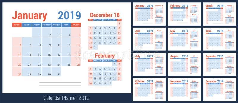 ημερολογιακός προγραμματισμός του 2019 planner Μπλε πρότυπο χρώματος sunday ελεύθερη απεικόνιση δικαιώματος