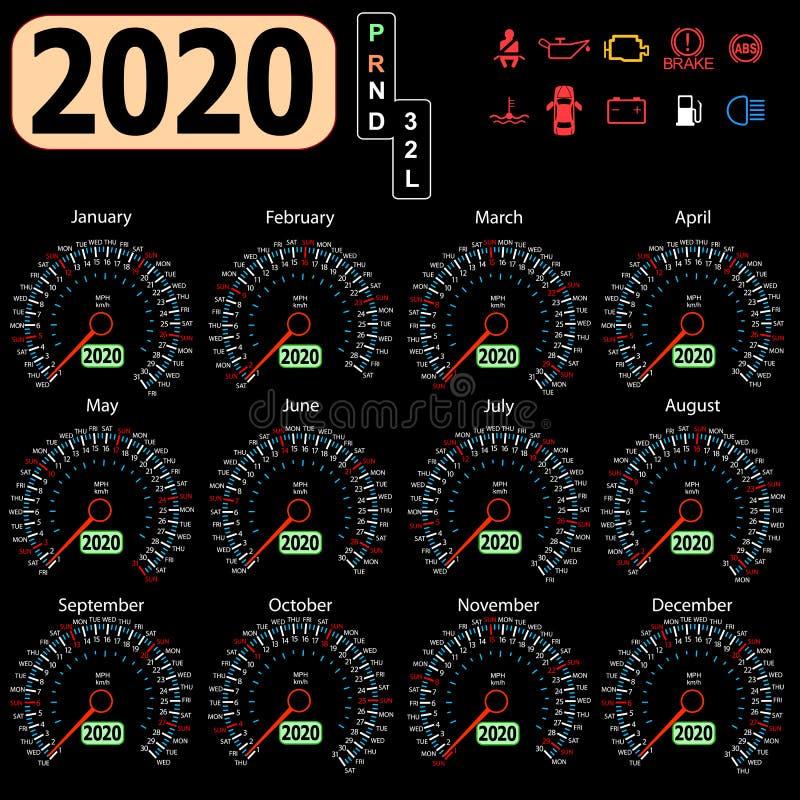 Ημερολογιακό 2020 έτος από το ταχύμετρο ταμπλό αυτοκινήτων διανυσματική απεικόνιση