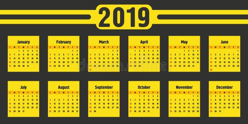 Ημερολογιακό 2019 έτος Μαύρο και κίτρινο διανυσματικό πρότυπο Ενάρξεις εβδομάδας την Κυριακή Βασικό πλέγμα Τετραγωνικό ημερολόγιο διανυσματική απεικόνιση
