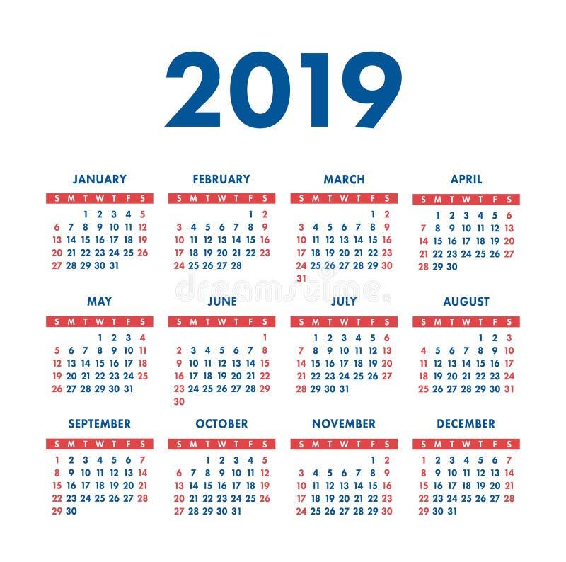 Ημερολογιακό 2019 έτος Τετραγωνικό ημερολόγιο τσεπών Έτοιμο σχέδιο Κόκκινο ελεύθερη απεικόνιση δικαιώματος