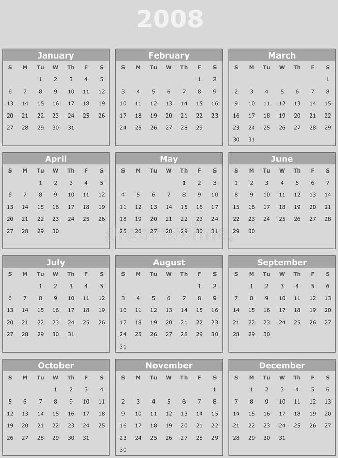 ημερολογιακό έτος του 2008 απεικόνιση αποθεμάτων