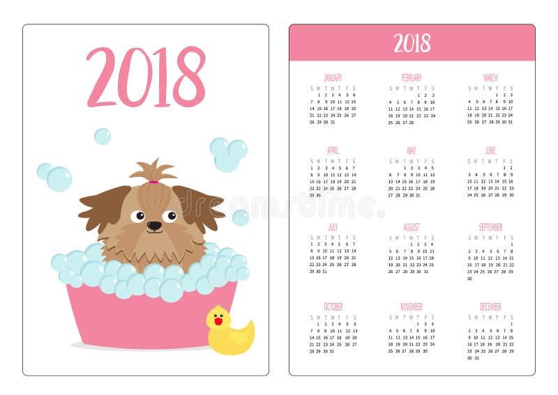 Ημερολογιακό 2018 έτος τσεπών Η εβδομάδα αρχίζει την Κυριακή Λίγο σκυλί Shih Tzu μαυρίσματος γοητείας που παίρνει ένα λουτρό φυσα απεικόνιση αποθεμάτων