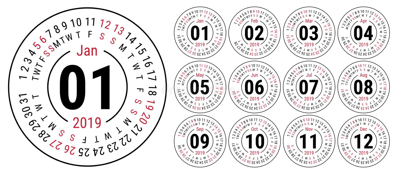 Ημερολογιακό 2019 διανυσματικό βασικό πλέγμα Απλό πρότυπο σχεδίου αγγλικά ελεύθερη απεικόνιση δικαιώματος