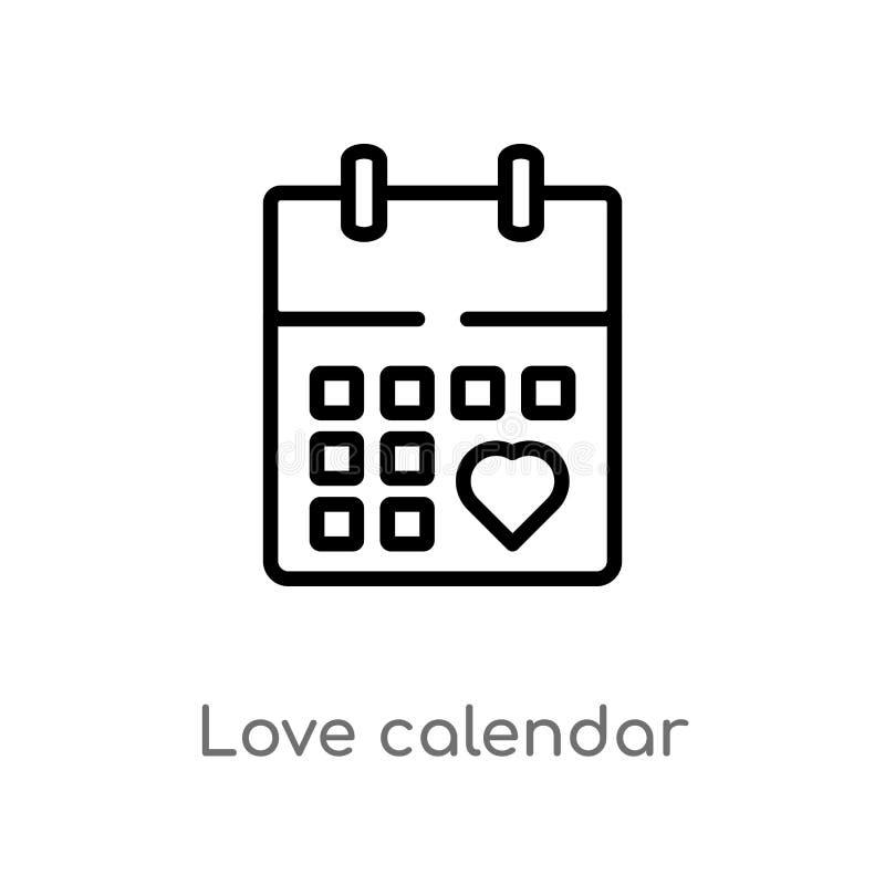ημερολογιακό διανυσματικό εικονίδιο αγάπης περιλήψεων απομονωμένη μαύρη απλή απεικόνιση στοιχείων γραμμών από την έννοια γιορτών  ελεύθερη απεικόνιση δικαιώματος