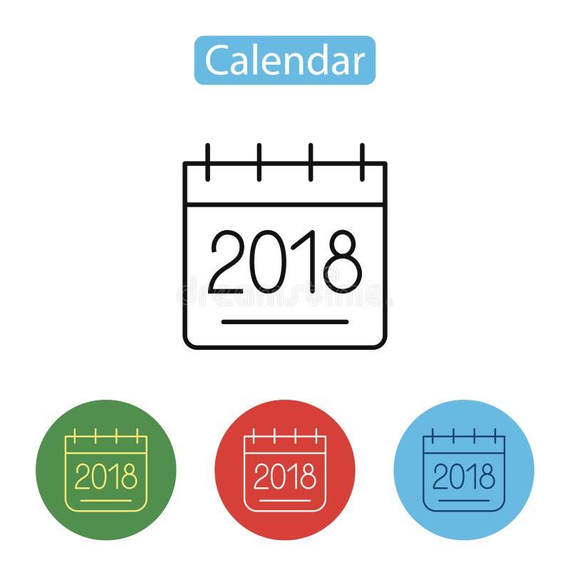 Ημερολογιακό εικονίδιο 2018 Νέο έτος 2018 διανυσματική απεικόνιση