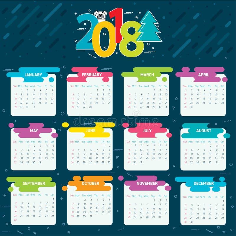 ημερολογιακό πλέγμα του 2018 για ένα έτος διανυσματική απεικόνιση