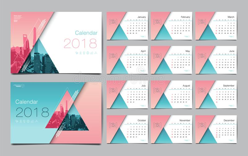 Ημερολογιακό πρότυπο για το έτος του 2018 Διανυσματικό σχεδιάγραμμα σχεδίου, επιχείρηση ελεύθερη απεικόνιση δικαιώματος