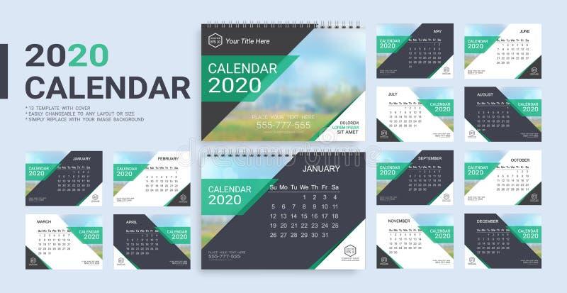 Ημερολογιακό 2020 πρότυπο γραφείων με την κάλυψη συμπεριλαμβανόμενη διανυσματική απεικόνιση