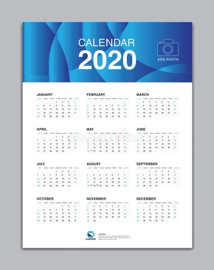 Ημερολογιακό 2020 πρότυπο, ημερολογιακό 2020 διάνυσμα τοίχων, ημερολογιακό σχέδιο γραφείων, έναρξη εβδομάδας την Κυριακή ελεύθερη απεικόνιση δικαιώματος
