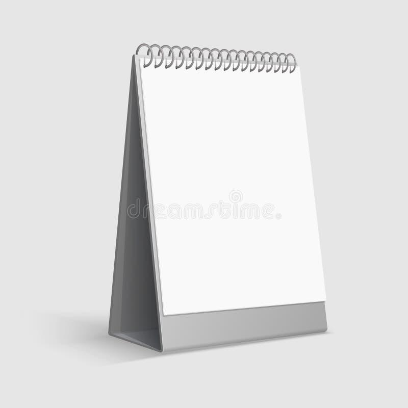 Ημερολογιακό πρότυπο Κενό άσπρο ημερολόγιο γραφείων υπολογιστών γραφείου με το σύνδεσμο δαχτυλιδιών τρισδιάστατο διανυσματικό πρό διανυσματική απεικόνιση