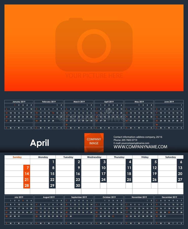 2019 ημερολογιακό πρότυπο apse Θέση για τη φωτογραφία σας απεικόνιση αποθεμάτων