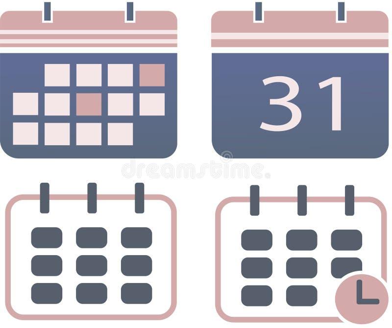 Ημερολογιακό σύνολο διανυσματική απεικόνιση