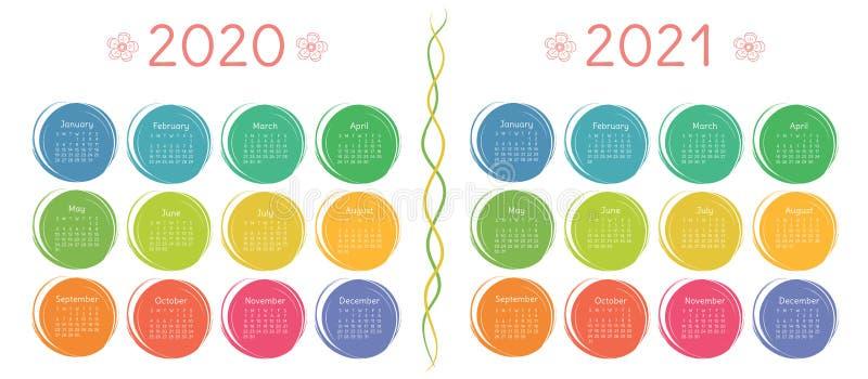 2020, ημερολογιακό σύνολο του 2021 Ύφος σκίτσων του ζωηρόχρωμου παιδιού doodle Χρώμα γύρω από συρμένα τα χέρι πλαίσια διανυσματική απεικόνιση