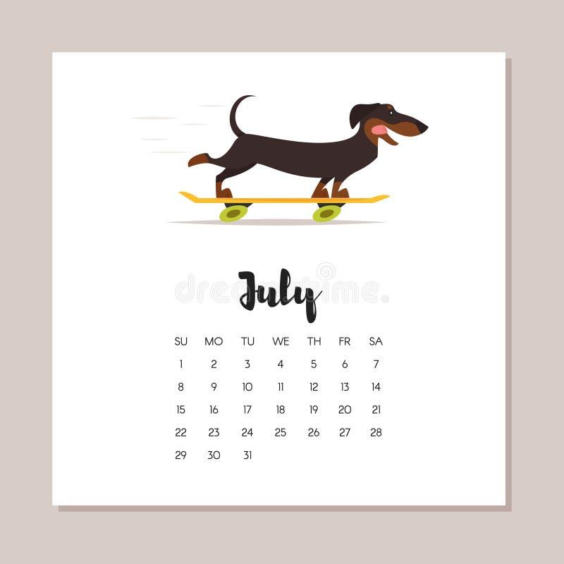 Ημερολόγιο έτους σκυλιών 2018 Ιουλίου ελεύθερη απεικόνιση δικαιώματος