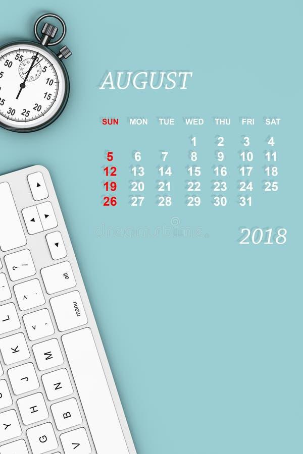 ημερολόγιο έτους του 2018 Ημερολόγιο Αυγούστου τρισδιάστατη απόδοση στοκ φωτογραφία με δικαίωμα ελεύθερης χρήσης
