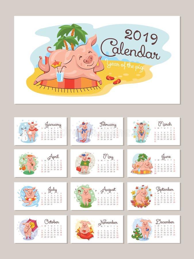 ημερολόγιο έτους του 2019 με τους τυποποιημένους χοίρους κινούμενων σχεδίων απεικόνιση αποθεμάτων