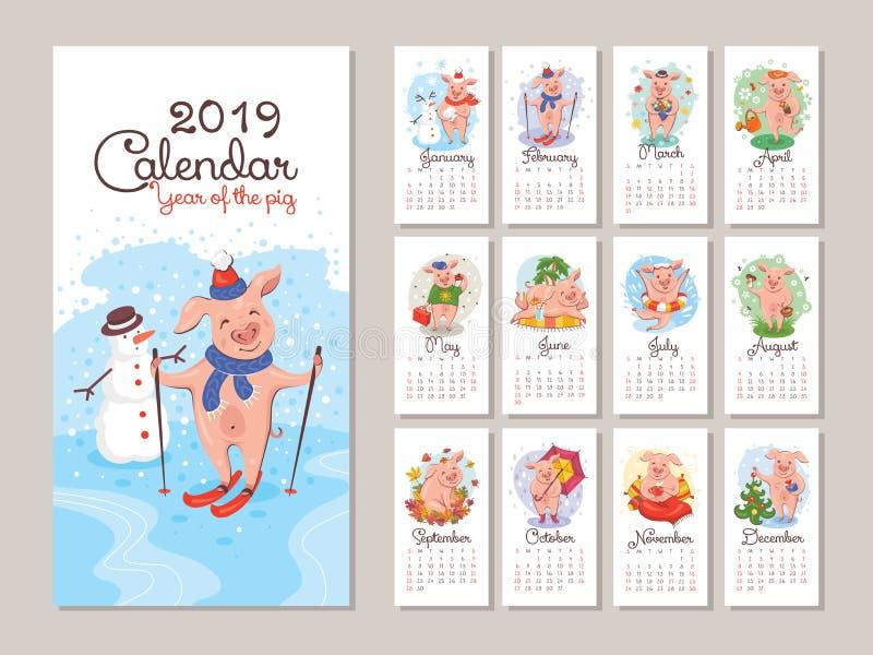 ημερολόγιο έτους του 2019 με τους τυποποιημένους χοίρους κινούμενων σχεδίων στοκ εικόνες