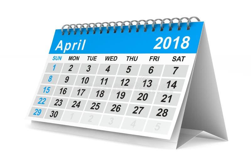 ημερολόγιο έτους του 2018 apse Απομονωμένη τρισδιάστατη απεικόνιση διανυσματική απεικόνιση