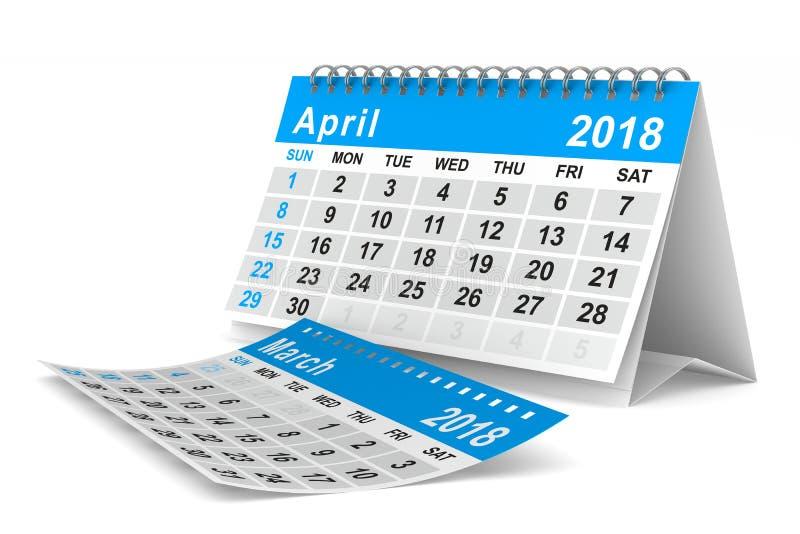 ημερολόγιο έτους του 2018 apse Απομονωμένη τρισδιάστατη απεικόνιση ελεύθερη απεικόνιση δικαιώματος