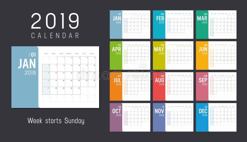 Ημερολόγιο έτους 2019 ελεύθερη απεικόνιση δικαιώματος