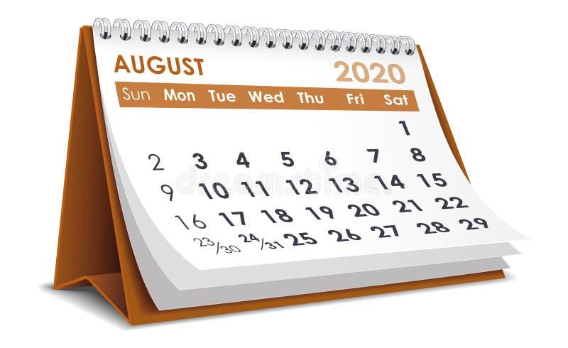 Ημερολόγιο Αυγούστου 2020 διανυσματική απεικόνιση