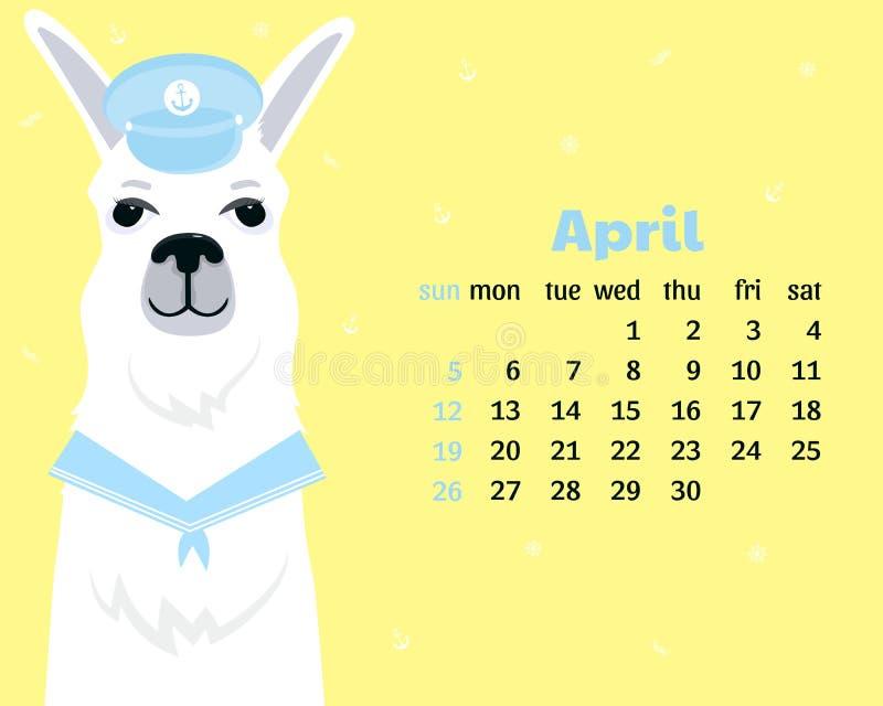 Ημερολόγιο για τον Απρίλιο του 2020 Έναρξη εβδομάδας την Κυριακή Χαριτωμένο llama σε ένα γείσο και ένα περιλαίμιο κοστουμιών ναυτ διανυσματική απεικόνιση