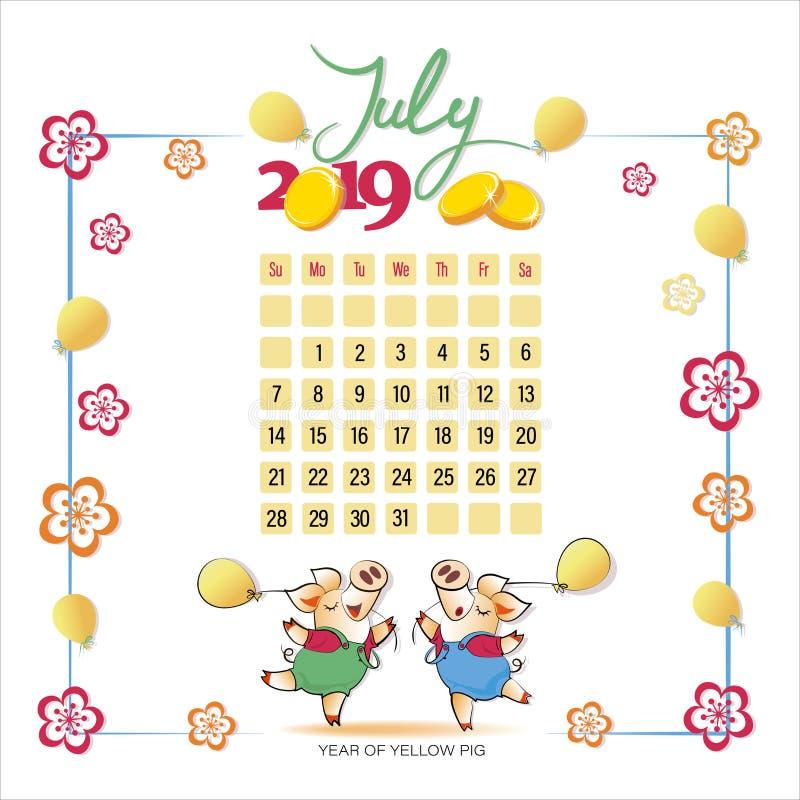 Ημερολόγιο 2019 για τον Ιούλιο Χαριτωμένοι χοίροι με τα μπαλόνια διανυσματική απεικόνιση
