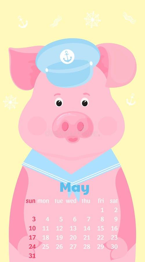 Ημερολόγιο για το Μάιο του 2020 Έναρξη εβδομάδας την Κυριακή Χαριτωμένος χοίρος σε ένα γείσο και ένα περιλαίμιο κοστουμιών ναυτικ ελεύθερη απεικόνιση δικαιώματος