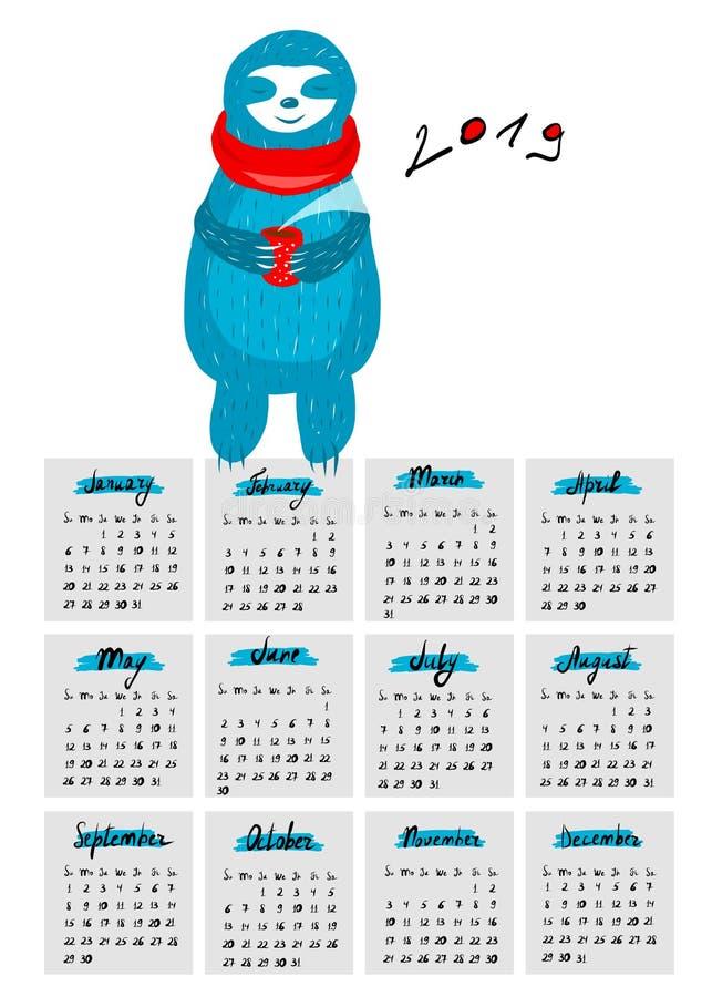 Ημερολόγιο για το 2019 με το α απεικόνιση αποθεμάτων