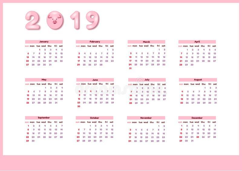 Ημερολόγιο για το 2019 με το χαριτωμένο ρόδινο χοίρο χρώματος Διανυσματικό κάθετο editable πρότυπο Ενάρξεις εβδομάδας την Κυριακή διανυσματική απεικόνιση