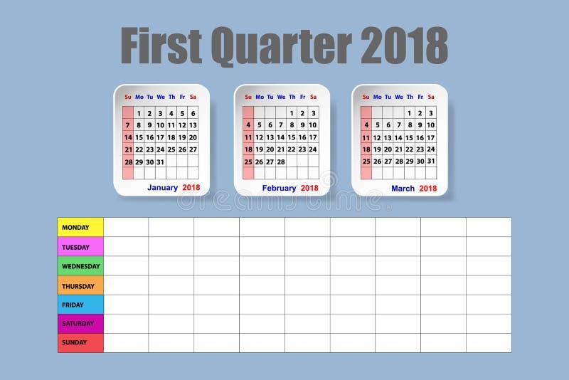 Ημερολόγιο για το πρώτο τρίμηνο του 2018 με το εβδομαδιαίο πρόγραμμα διανυσματική απεικόνιση