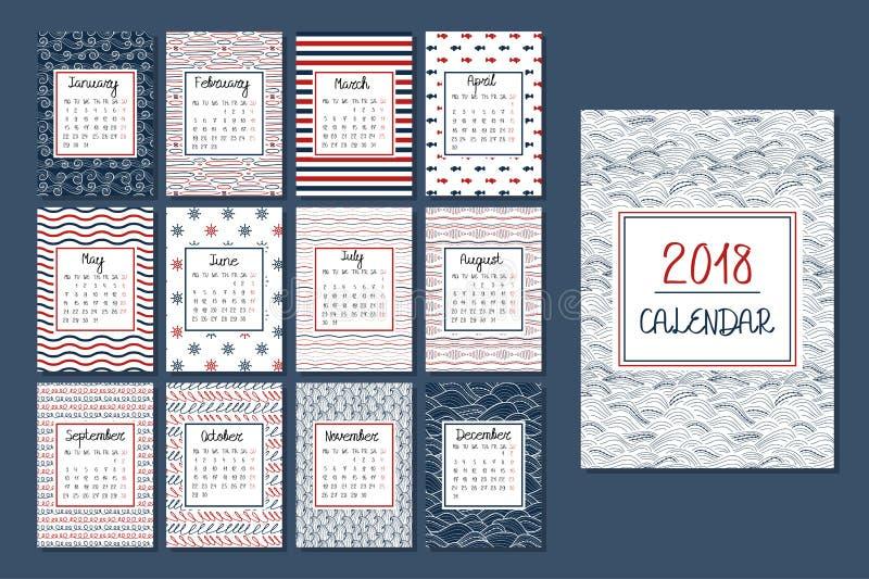 Ημερολόγιο για το 2018 διανυσματική απεικόνιση