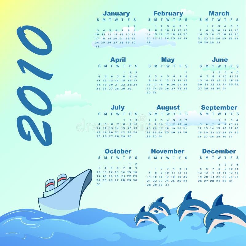 Ημερολόγιο για το 2010 διανυσματική απεικόνιση