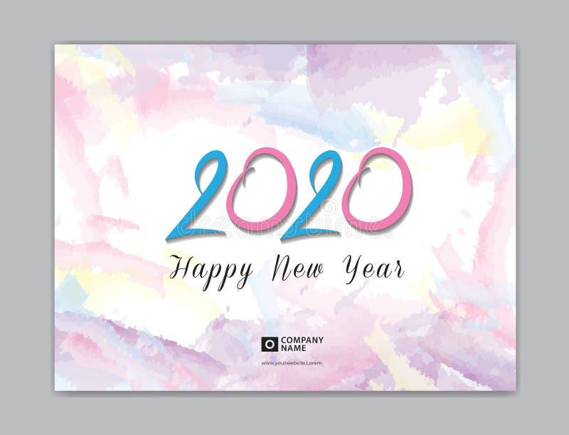 Ημερολόγιο γραφείων κάλυψης για το διάνυσμα προτύπων του 2020, μέγεθος 8 X 6 ίντσας, σχέδιο κάλυψης βιβλίων, φυλλάδιο, ιπτάμενο,  απεικόνιση αποθεμάτων