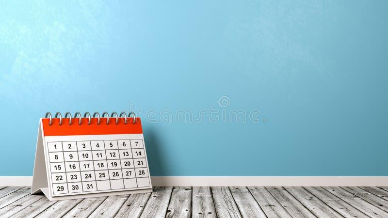 Ημερολόγιο γραφείων στο ξύλινο πάτωμα ενάντια στον τοίχο διανυσματική απεικόνιση