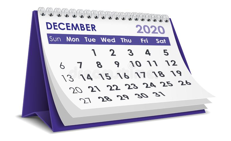 Ημερολόγιο Δεκεμβρίου 2020 ελεύθερη απεικόνιση δικαιώματος
