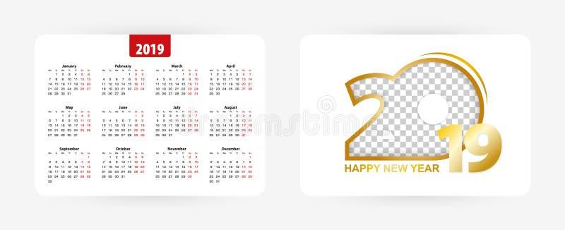 Ημερολόγιο 2019, διανυσματική απεικόνιση τσεπών ελεύθερη απεικόνιση δικαιώματος