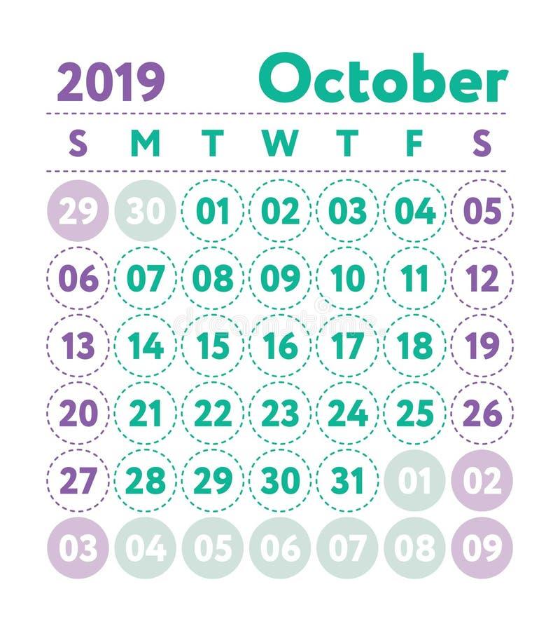 Ημερολόγιο 2019 Διανυσματικό αγγλικό ημερολόγιο Μήνας Οκτωβρίου Αστέρι εβδομάδας απεικόνιση αποθεμάτων