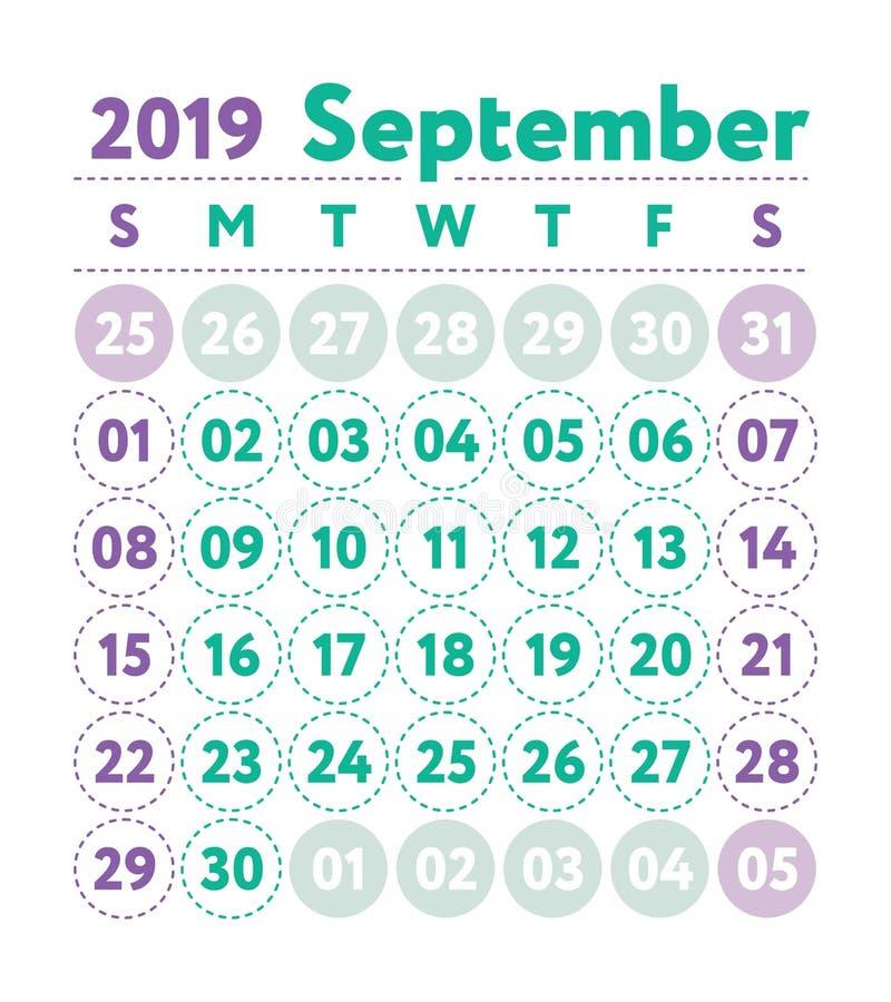 Ημερολόγιο 2019 Διανυσματικό αγγλικό ημερολόγιο Μήνας Σεπτεμβρίου Εβδομάδα ST ελεύθερη απεικόνιση δικαιώματος