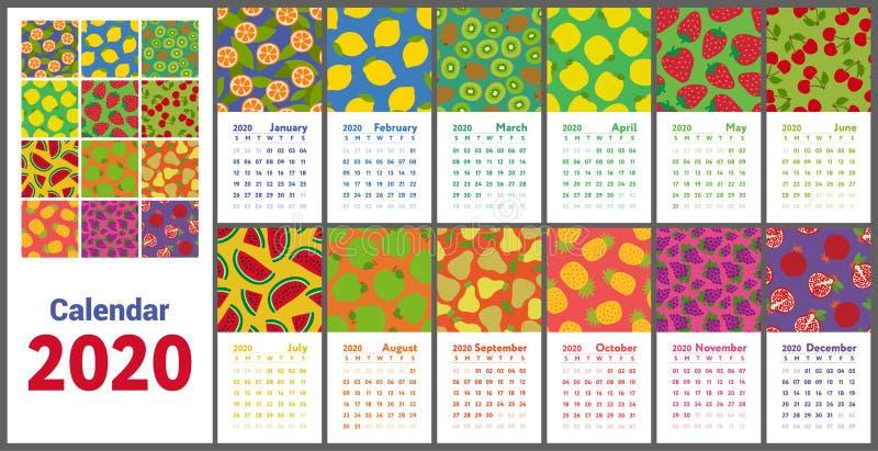 Ημερολόγιο 2020 Διανυσματικό αγγλικό ημερολόγιο τοίχων Λεμόνι, ακτινίδιο, αχλάδι, γρανάτης, πορτοκάλι, ανανάς, κεράσι, φράουλα, κ απεικόνιση αποθεμάτων