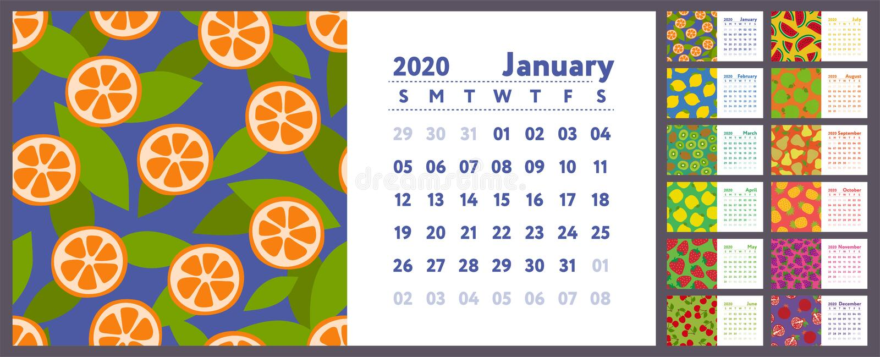Ημερολόγιο 2020 Διανυσματικό αγγλικό horisontal ημερολόγιο τοίχων Λεμόνι, ακτινίδιο, αχλάδι, γρανάτης, πορτοκάλι, ανανάς, κεράσι, διανυσματική απεικόνιση