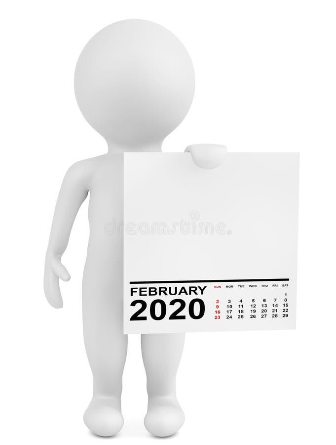 Ημερολόγιο Διατήρησης Χαρακτήρων Φεβρουάριος 2020 Απόδοση 3d ελεύθερη απεικόνιση δικαιώματος