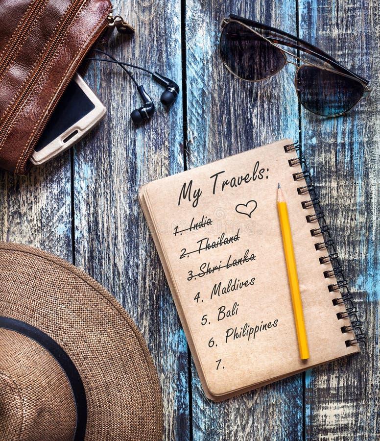 Ημερολόγιο εγγράφου ταξιδιού με τα όνειρα ταξιδιού στοκ εικόνες με δικαίωμα ελεύθερης χρήσης