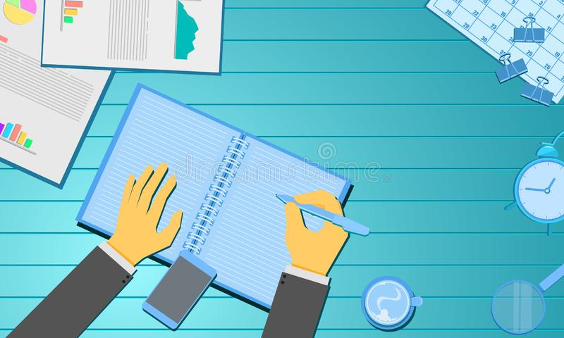 Ημερολόγιο εκθέσεων διαγραμμάτων πληροφοριών και καφέ εγγράφου γραψίματος χεριών Έννοια επιχειρησιακού μάρκετινγκ ξύλινο γαλαζοπρ ελεύθερη απεικόνιση δικαιώματος
