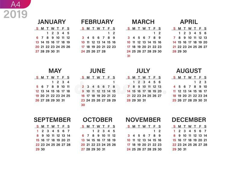 Ημερολόγιο εκτύπωσης για το 2019 διανυσματική απεικόνιση