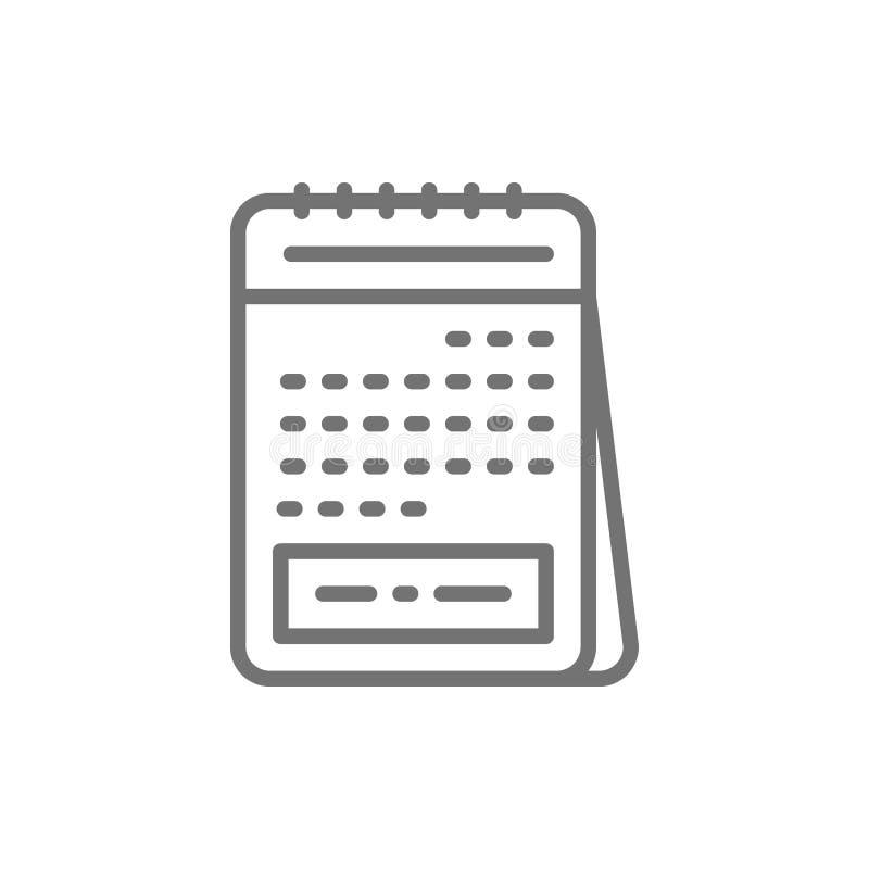 Ημερολόγιο, εμμηνορροϊκός κύκλος, φυσικό εικονίδιο γραμμών οικογενειακού προγραμματισμού απεικόνιση αποθεμάτων